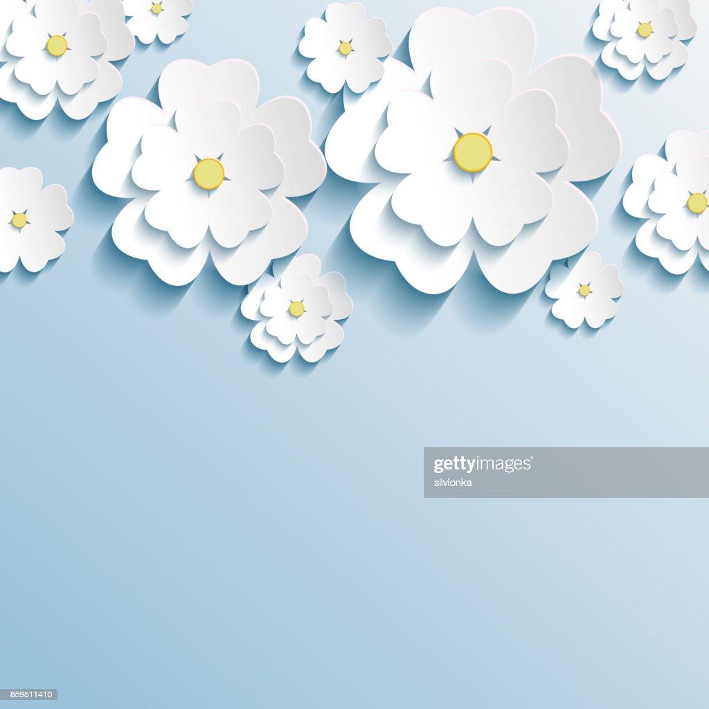 Stylish trendy wallpaper with 3d flowers sakura