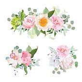 Stylish various flowers bouquets vector design set