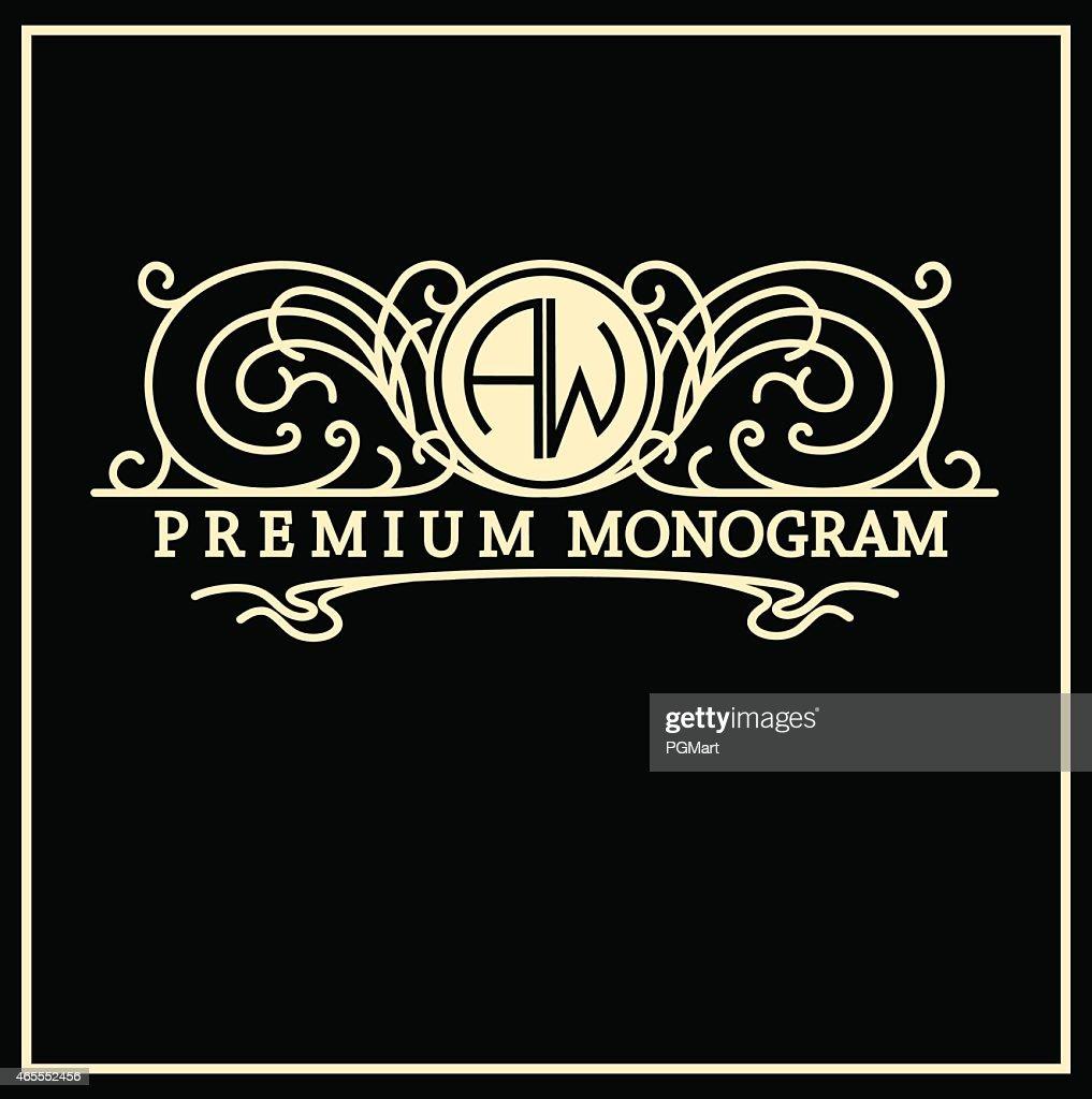 Stylish  vintage graceful monogram in Art Nouveau style