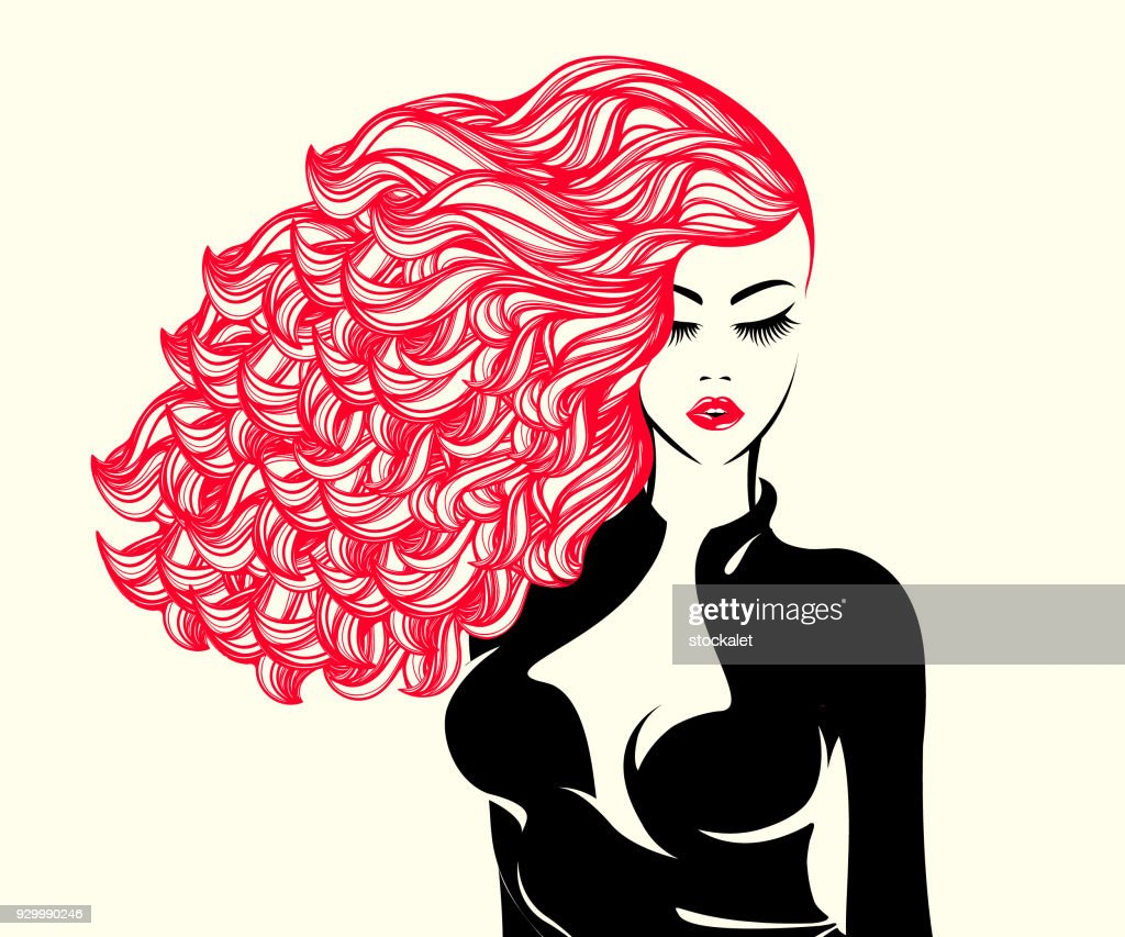 Stylish woman with big, curly red hair and bold makeup.Style and beauty vector icon.