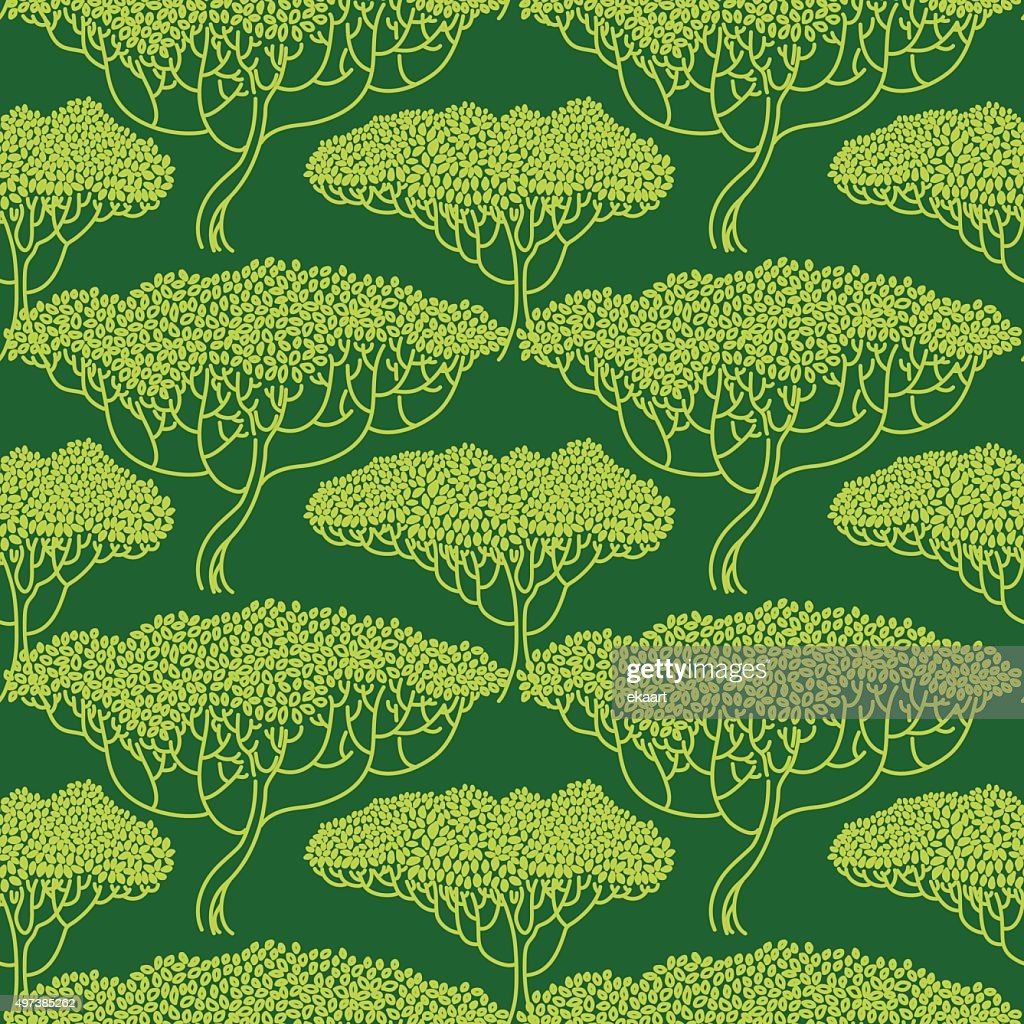 Stylized Abstract Tree Illustration Wallpaper Seamless Pattern Vector Art