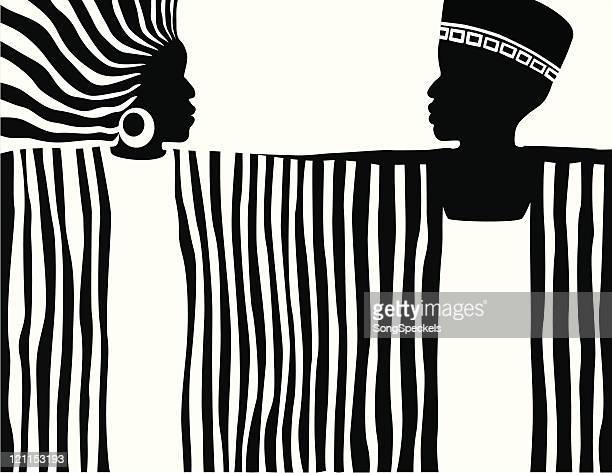 illustrations, cliparts, dessins animés et icônes de stylisé afrique homme et femme - femme africaine