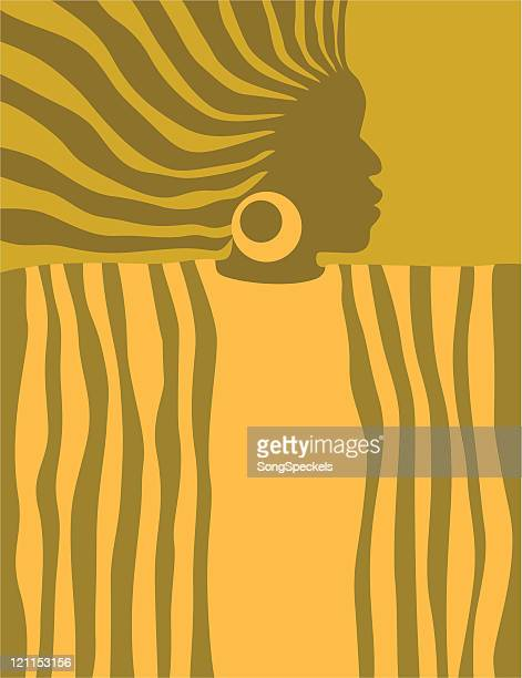 stylized african woman - afro stock illustrations