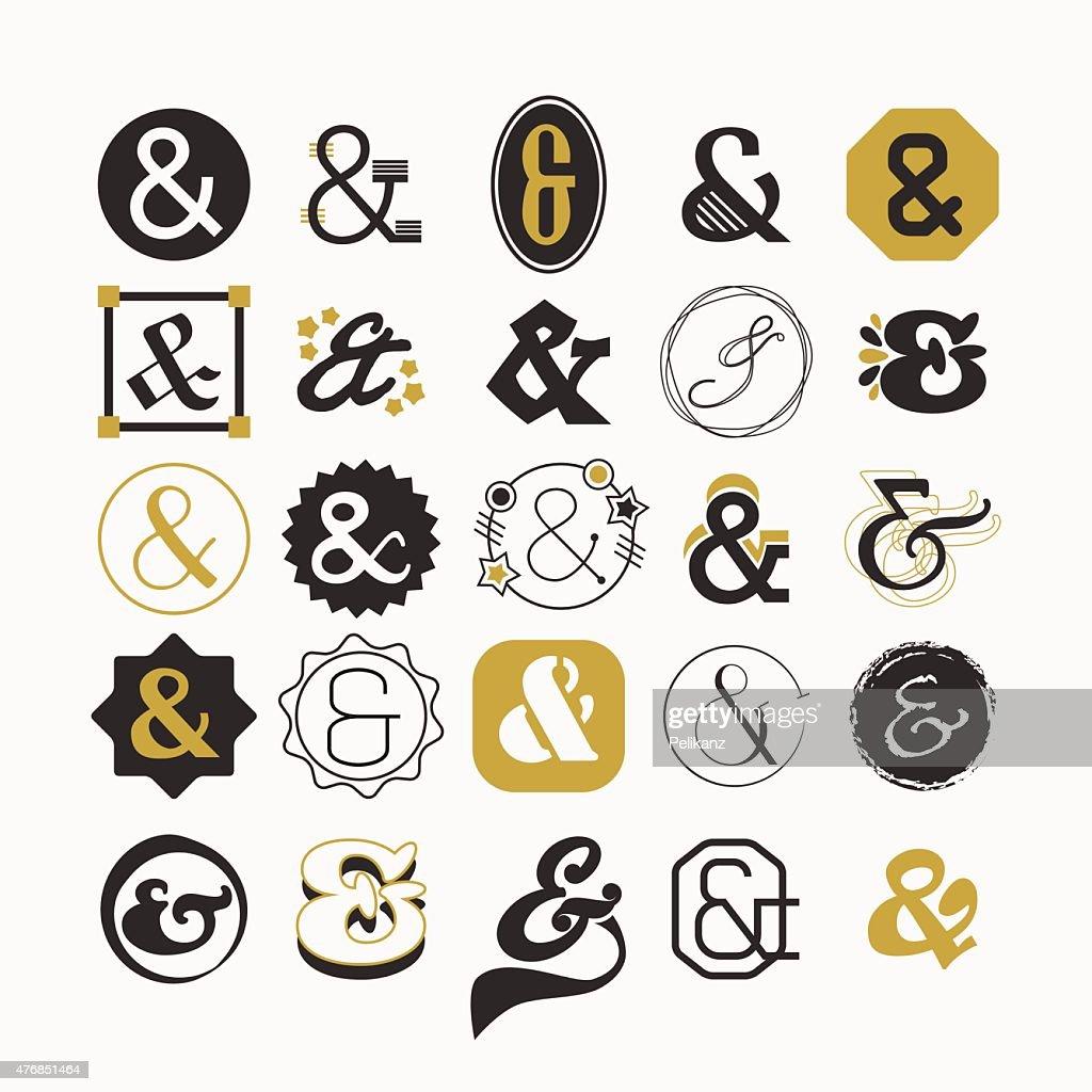 Stylized Ampersand sign and symbol design elements set