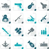 Stylized Army, weapon and arms Icons