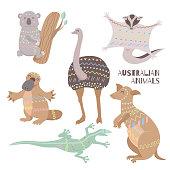 Stylized australian animals isolated on white background.