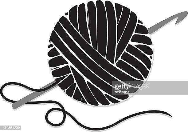 Stylized Ball of Yarn and Crochet Hook, Icon