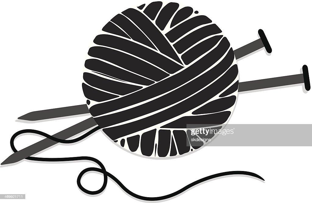 Clipart Knitting Needles And Yarn : Stylized ball of yarn and knitting needles icon