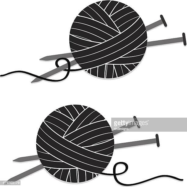 Stylized Ball of Yarn and Knitting Needles, Icon