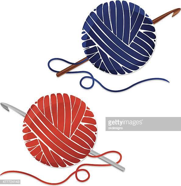 Fotografías estilizadas y bolas de hilo y ganchos de Crochet; iconos