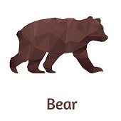 Stylized bear isolated on a white background. Made in low poly triangular style. Vector.