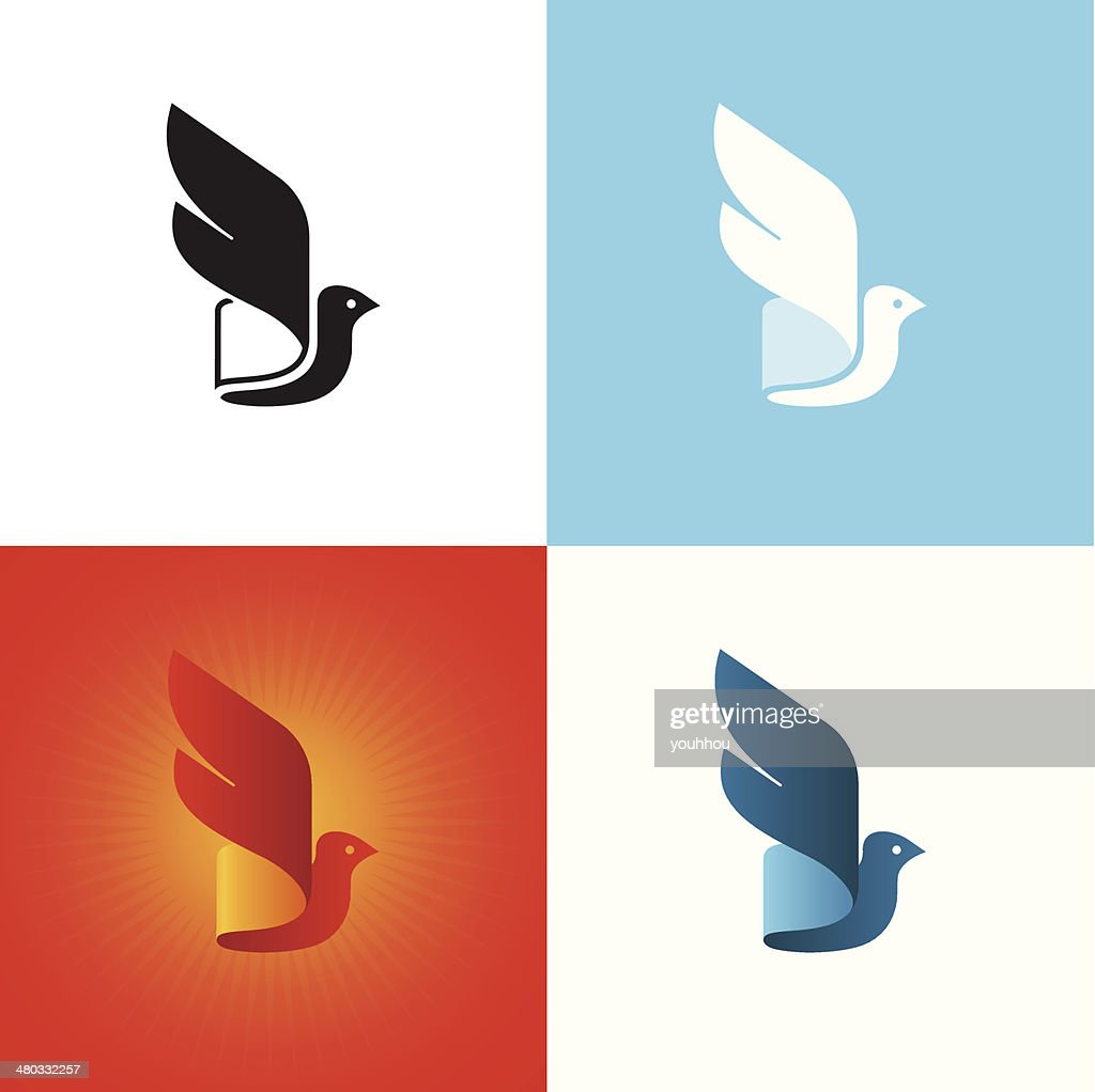 Stylized bird silhouette at different color variations.