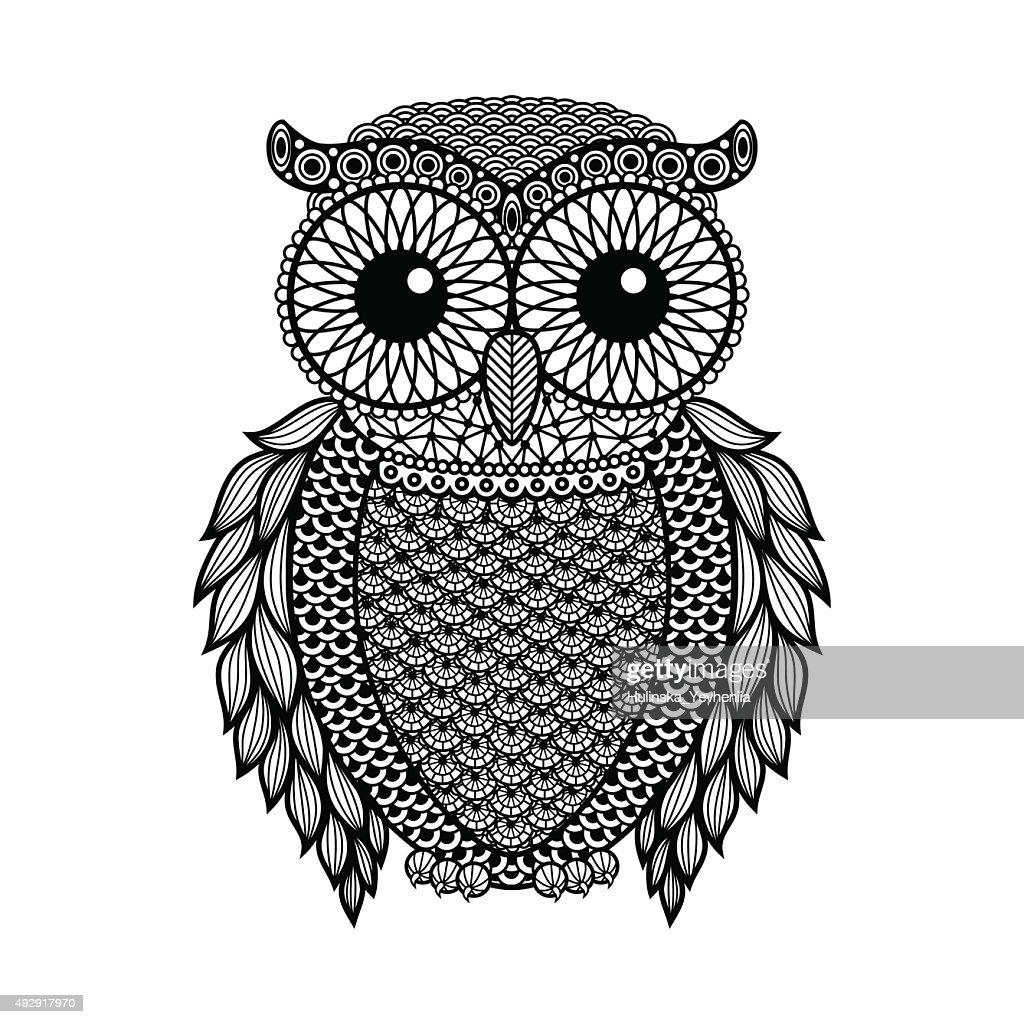 stylized Black Owl. Hand Drawn isolated on white background.
