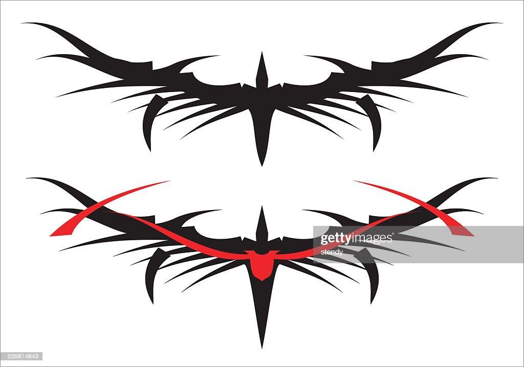 Asas estilizadas preto : Arte vetorial