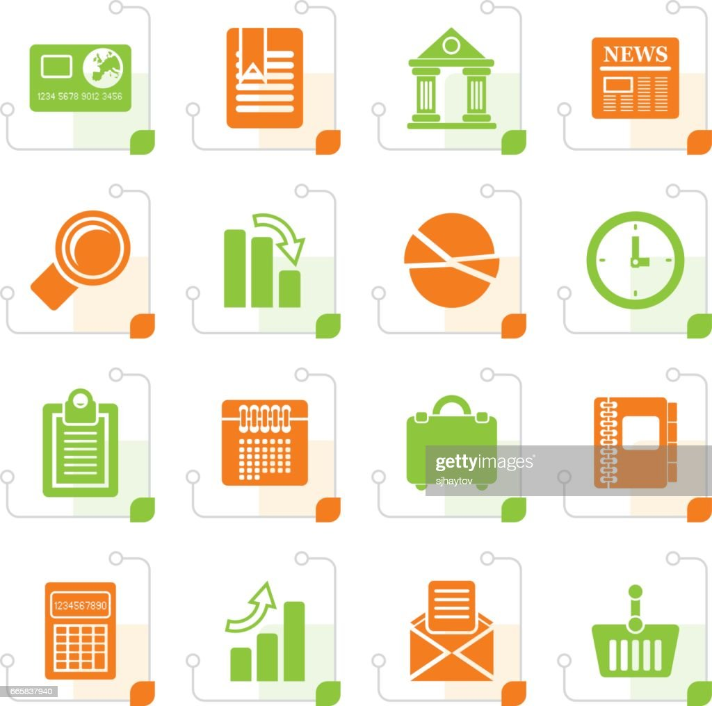 Stylized Business and Office Realistic Internet Icons