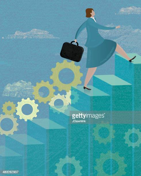 stylized business concept woman walking up bar graph - stepping stock illustrations, clip art, cartoons, & icons