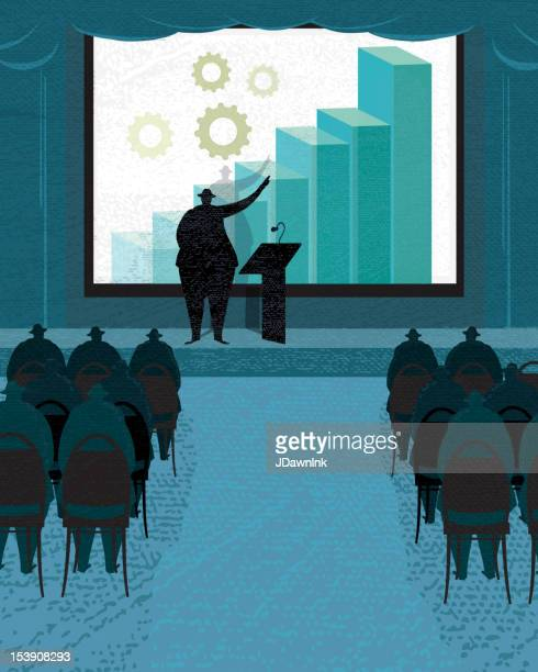 Stylized business conference with screen