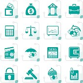 Stylized Business, finance and bank icons
