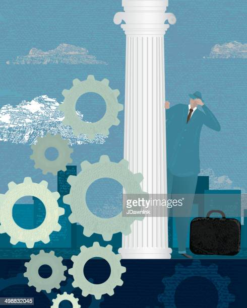 stylized business financial outlook concept - corner of building stock illustrations, clip art, cartoons, & icons