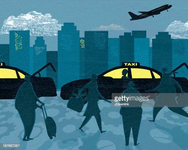 ilustraciones, imágenes clip art, dibujos animados e iconos de stock de fotografías estilizadas y viajes de negocios y el transporte en taxi terminal - taxista