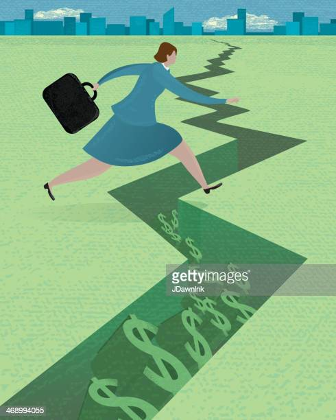 stylized business woman in money pitfall concept - cracked stock illustrations