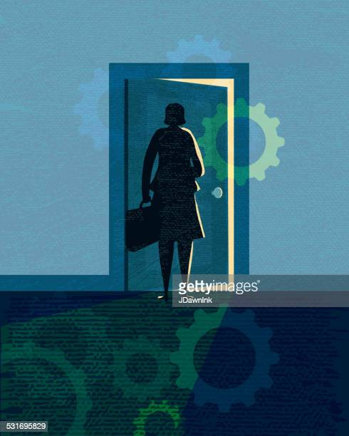 stylized business woman silhouette opening door - door frame stock illustrations, clip art, cartoons, & icons