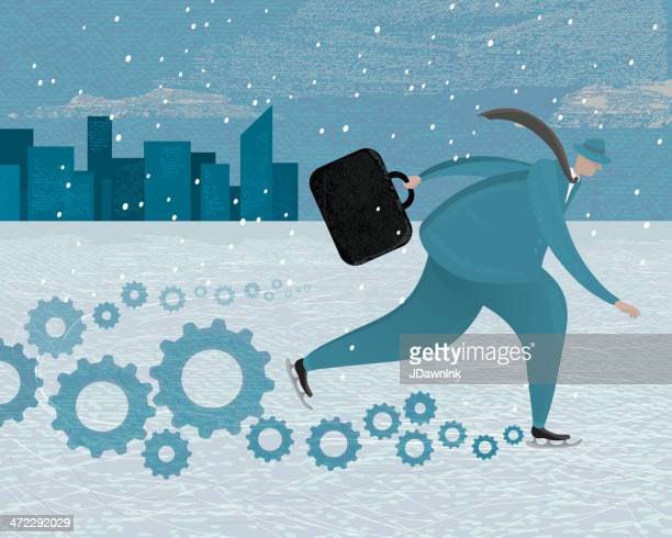 stylized businessman on ice skates with gears - ice skating stock illustrations, clip art, cartoons, & icons
