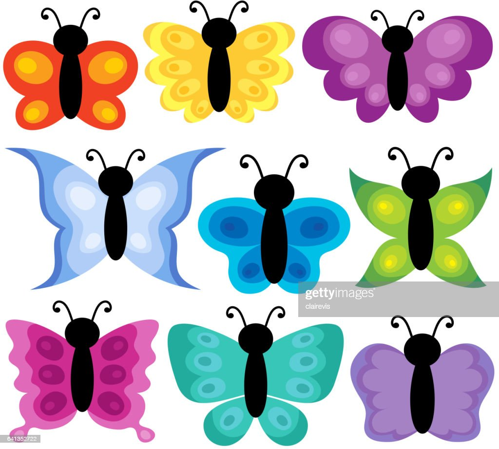 Stylized butterflies theme set 2