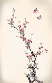 Stylized cherry blossom branches with flying butterflies