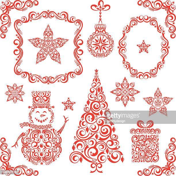 ilustraciones, imágenes clip art, dibujos animados e iconos de stock de hermoso juego de navidad - flor de pascua