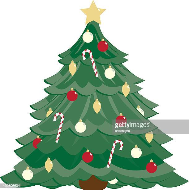 Stylized Christmas Tree, Ornaments, Candy Canes