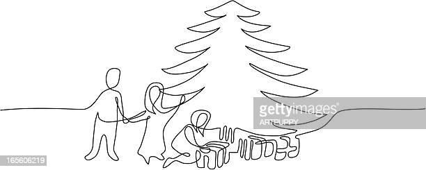 stilisierten weihnachtsbaum mit kindern - federzeichnung stock-grafiken, -clipart, -cartoons und -symbole