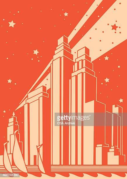 illustrations, cliparts, dessins animés et icônes de stylisé citiscape - ville futuriste