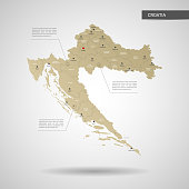 Stylized Croatia map vector illustration.