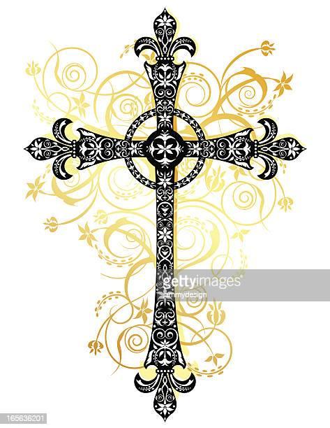 stylized cross - crucifix stock illustrations, clip art, cartoons, & icons