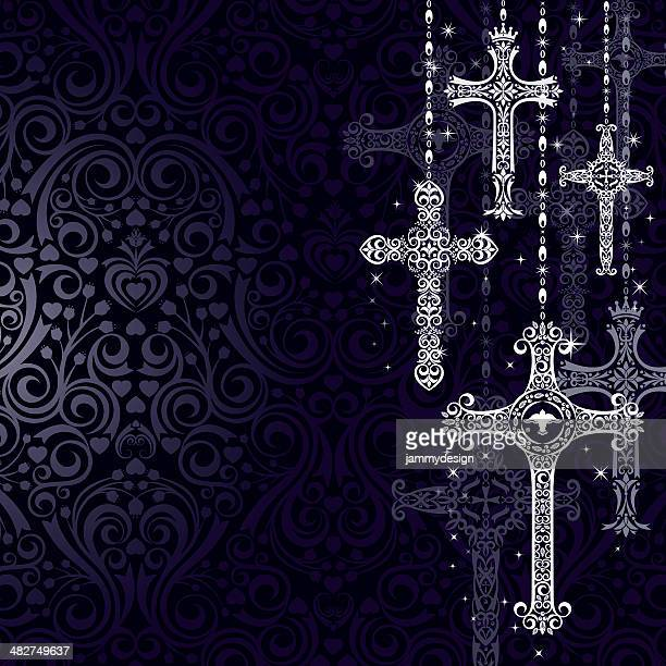stylized crosses - crucifix stock illustrations, clip art, cartoons, & icons