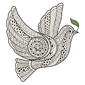 Stylized dove with olive branch style Zen art.