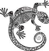 stylized drawing of a lizard.
