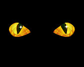Stylized drawing of faceted golden cat eyes against black