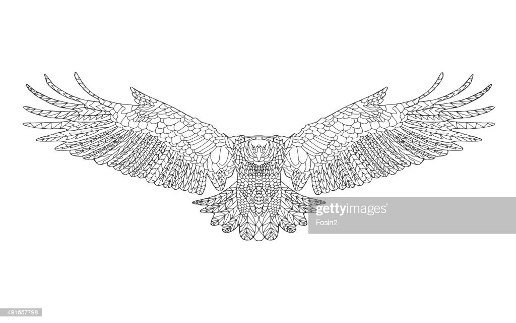 Stylized eagle. Sketch for coloring page, tattoo or t