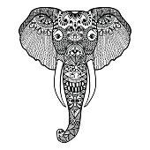 Stylized Elephant. Hand Drawn lace vector illustration