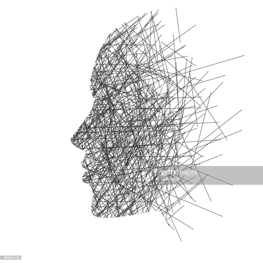 Stylized face in profile, concept: thoughts, stress or creativity