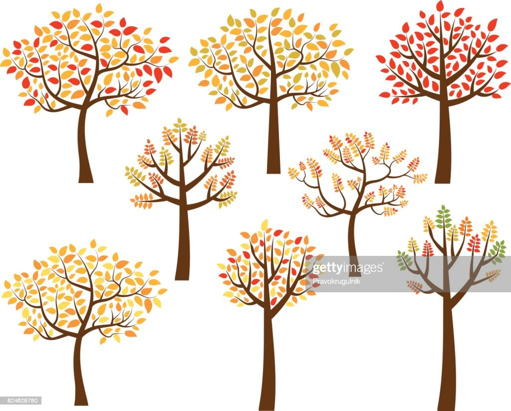 Stylized fall trees wit yellow, red and orange leaves.