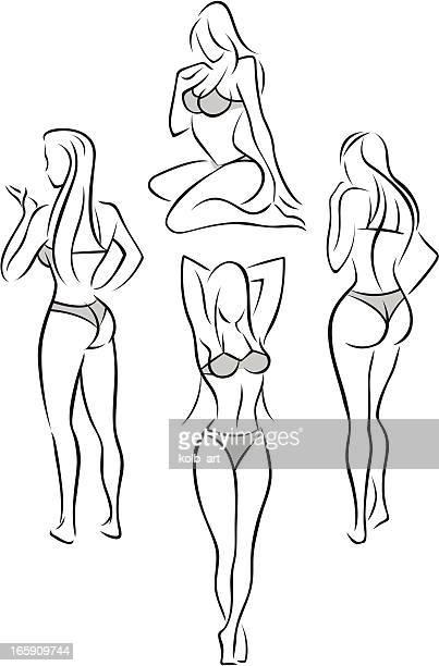 Stylized female figures in underwear