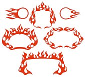 Stylized fire flame vector frames