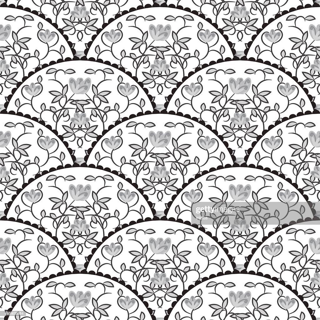 Stylized fish scale japan seamless pattern.