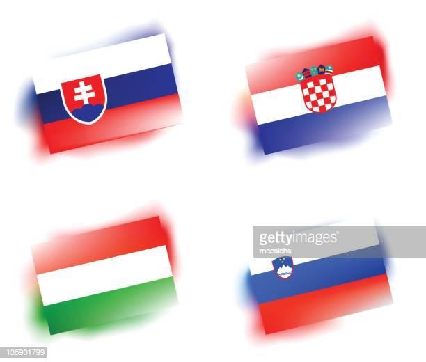 図案化された旗 - スロベニア国旗点のイラスト素材/クリップアート素材/マンガ素材/アイコン素材