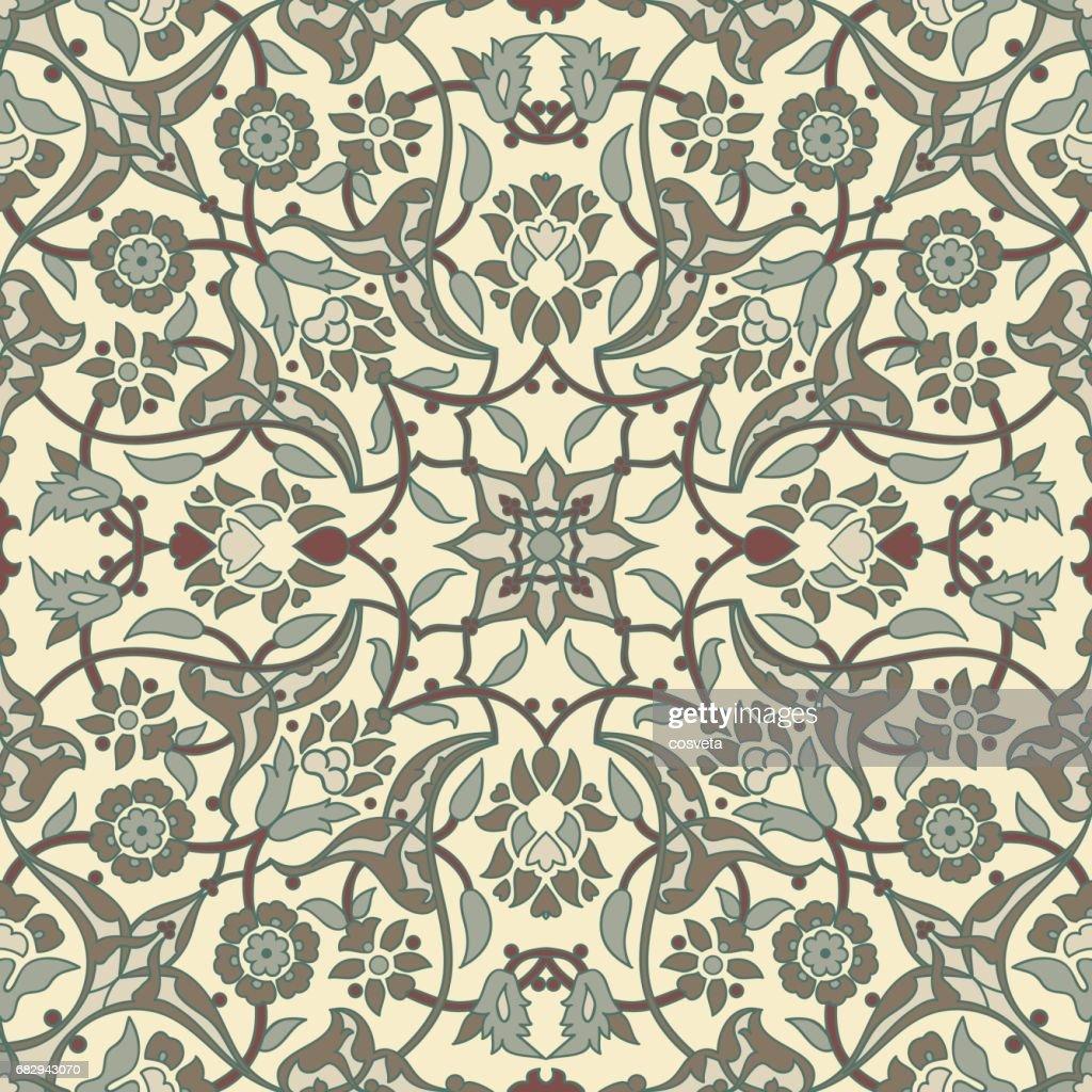 Stilisierte Blumen Orientalische Tapeten Retronahtlose Abstrakten