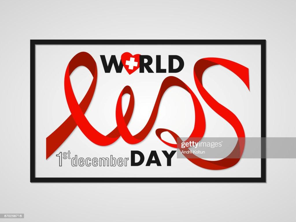 Stilisierte Schrift Aids Red Ribbon Weltaidstag Im Rahmen Plakat ...