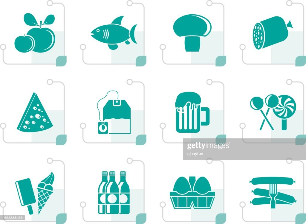 Stylized food, drink and shop icons